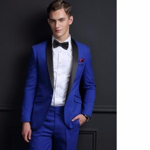 2017 Tailored Mens Suits Groom Tuxedos Groomsmen Wedding Party Dinner Best Man Suits Blazer Royal Blue (Jacket+Pants+Bow Tie) royal blue plunging neckline bow tie waist blouse