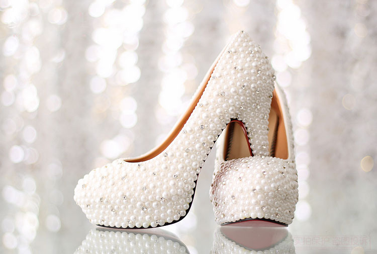 White HighHeel Bridal Dress Shoes Luxurious Imitation Pearl Rhinestone Wedding Shoes Platform Lady Formal Shoes Gorgeous ShoesWhite HighHeel Bridal Dress Shoes Luxurious Imitation Pearl Rhinestone Wedding Shoes Platform Lady Formal Shoes Gorgeous Shoes