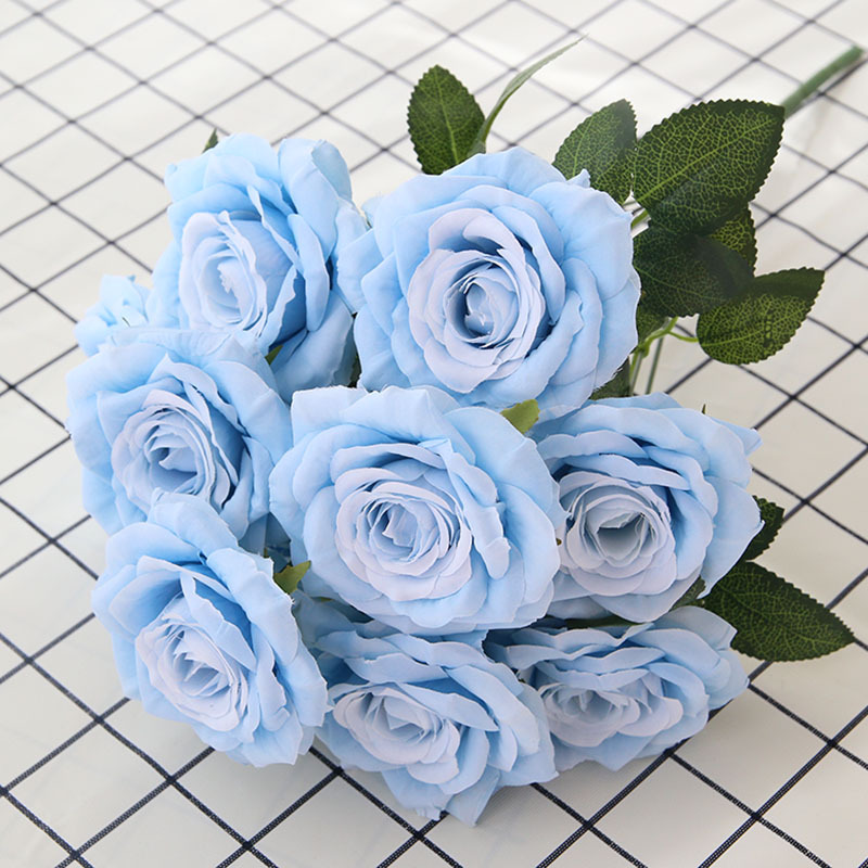Rose Bouquet Artificial Flowers Fake Silk Roses Blue Wedding Flower Home Decoration Artificial Roses Flower Christmas decor(China)