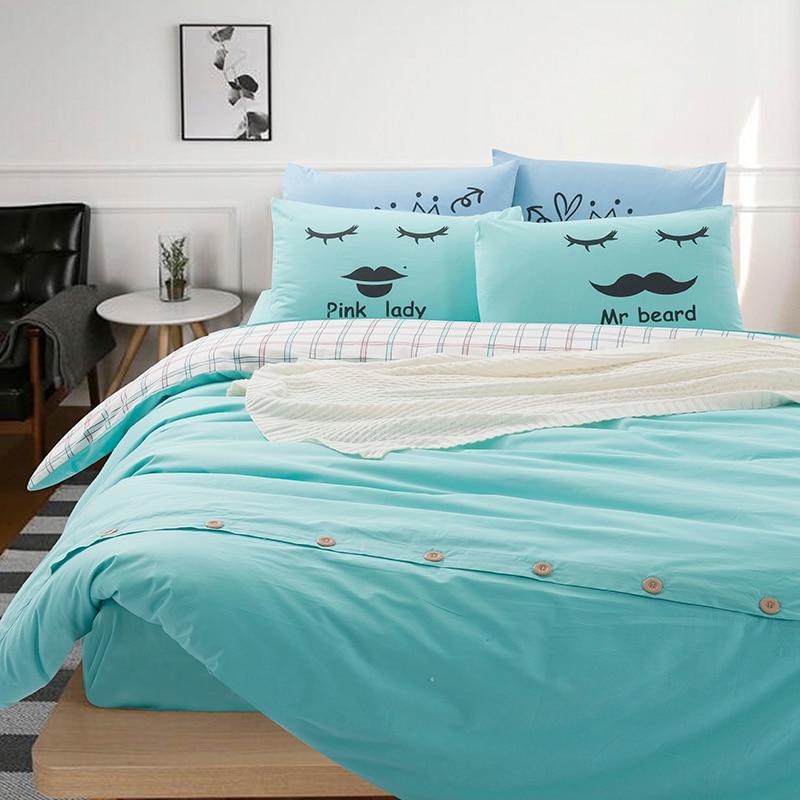 ᐅColor sólido y tela escocesa Ropa de cama completa reina tamaño