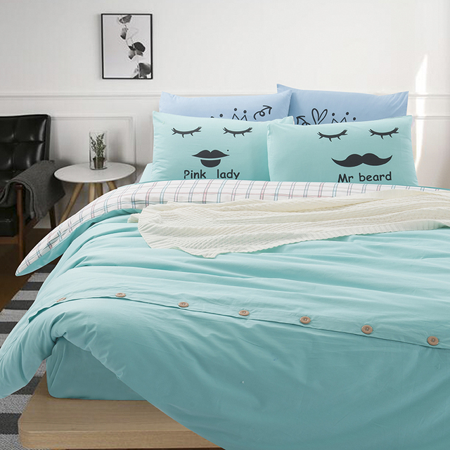 Aliexpress Buy Solid Color And Plaid Bedding Sets