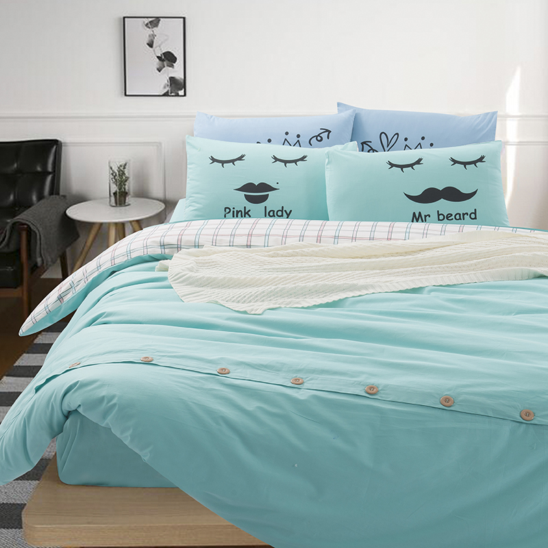 Solid Color and Plaid Bedding Sets Full Queen King Size Cotton Bed Sheets Duvet Cover Buttons Purple Pink Blue Green Turquoise
