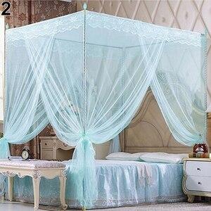 Estilo Europeo 4 poste de esquina romántica princesa dosel de encaje mosquitera sin marco para cama doble Full Queen King
