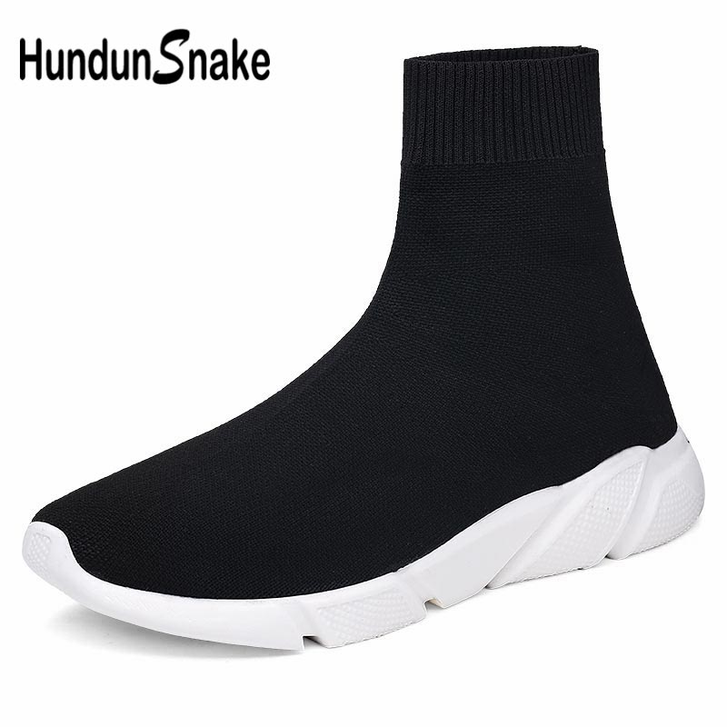 Hundunsnake High Top Men's Sports Shoes Socks Sneakers Man Running Shoes For Men Women Sport Shoes Male Black Krasofki Gym A-199