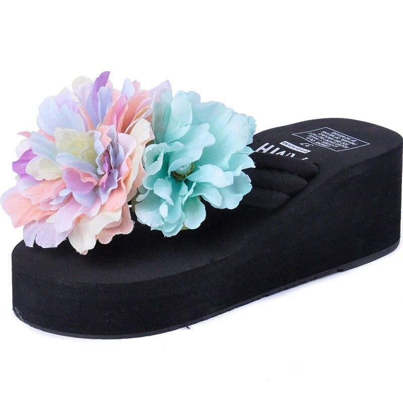 Творческий ручной цветок Вьетнамки праздник Пляжная обувь тапочки клин слайды Для женщин Повседневные шлепанцы