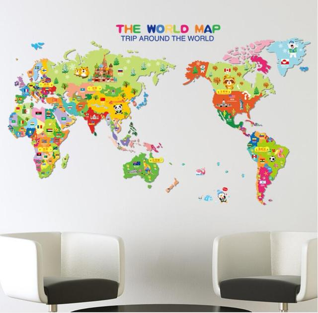 Wall Stickers Cartoon Animal World Map Childrens Room - Wall map children's room