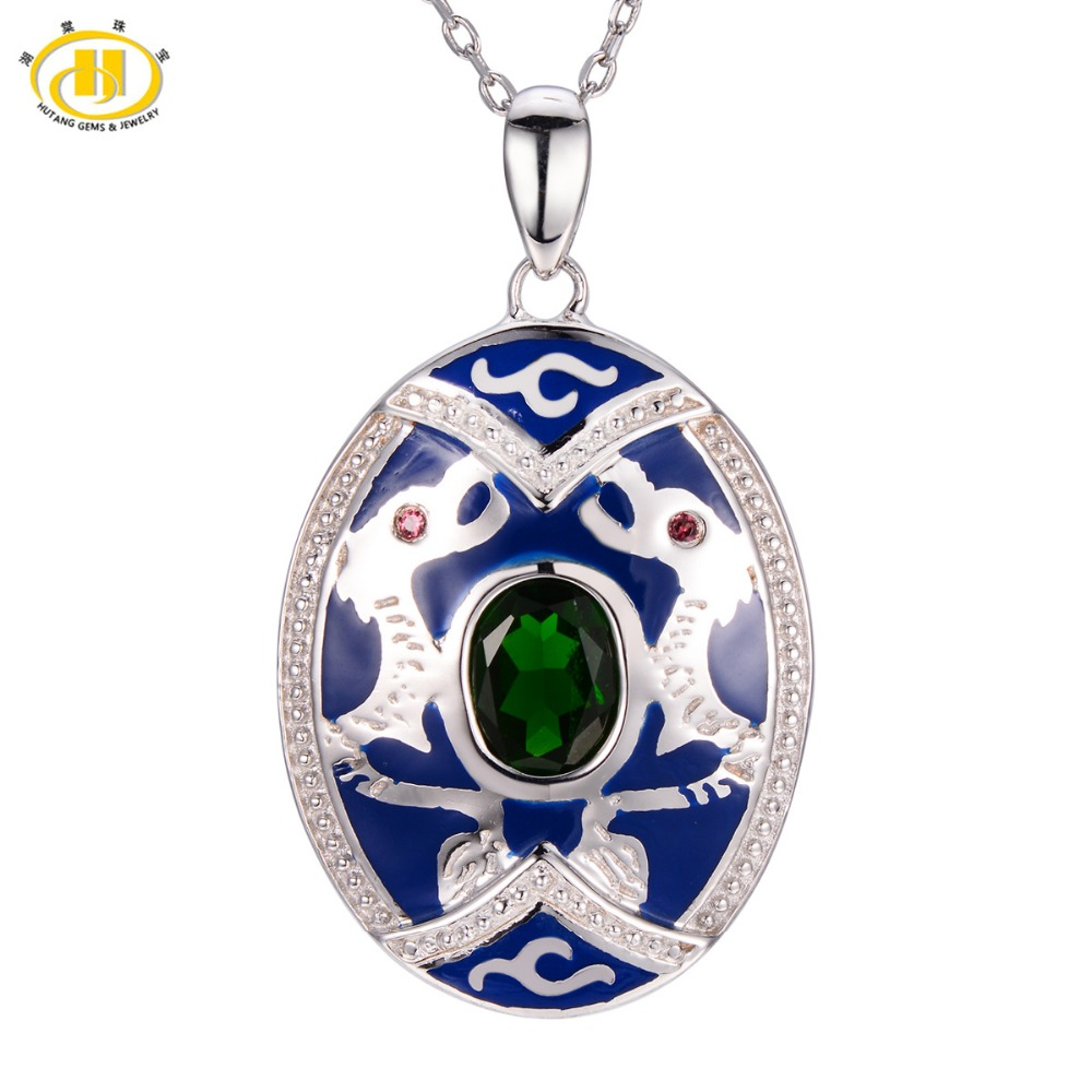 Hutang Natural Chrome Diopside & Garnet Pendant 925 Sterling Silver Necklace Chinese Element Dragon Fine Jewelry все цены