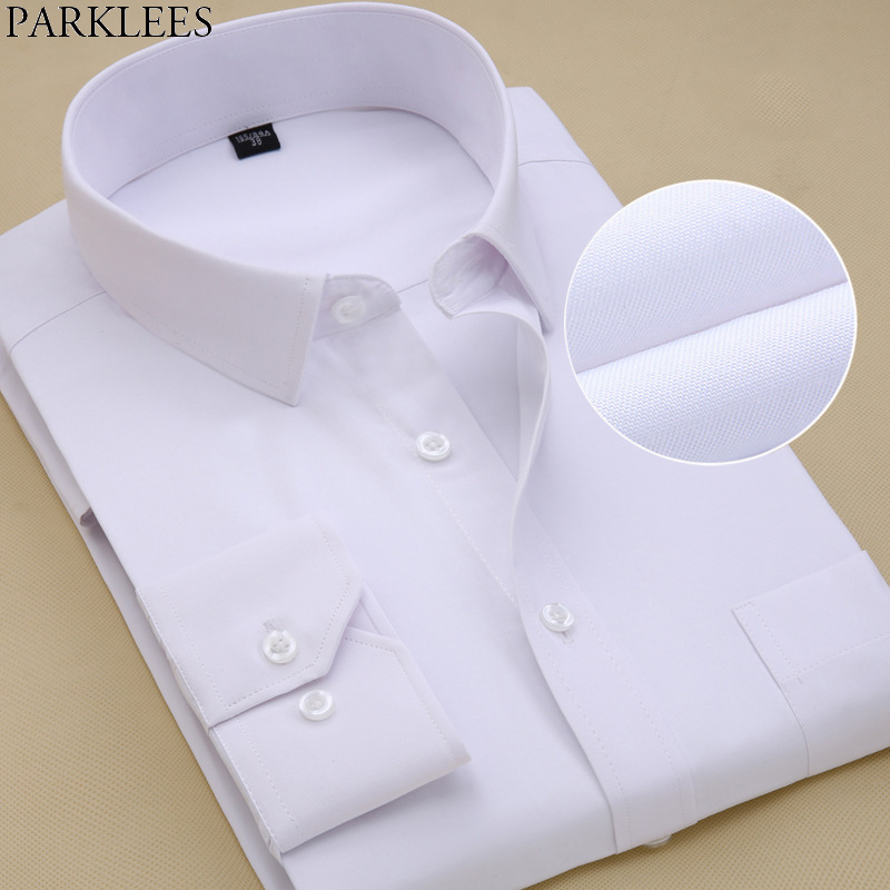Us 12 49 50 Off Mens White Tuxedo Shirts Business Casual Long Sleeve On Down Solid Plus Size Work Chemise Homme Top 8xl In