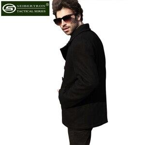Image 4 - New Mens Woolen coat US Navy Type 80% Wool USN Pea Coat Leisure jacket Wool Blends Black Blue