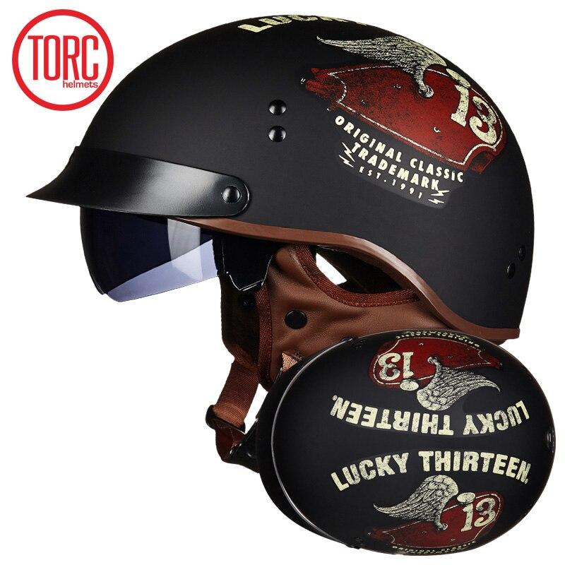 TORC New Arrival Vintage Half Face Motorcycle Helmet Casco Casque Moto  Retro Helmets With Inner Sun Visor lucky 13 helmet-in Helmets from Automobiles & Motorcycles    1