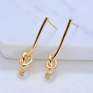 (116)4PCS 27MM 35MM 24K Gold Color Plated Brass Long Line with Knot Stud Earrings High Quality DIY Jewelry Making Findings