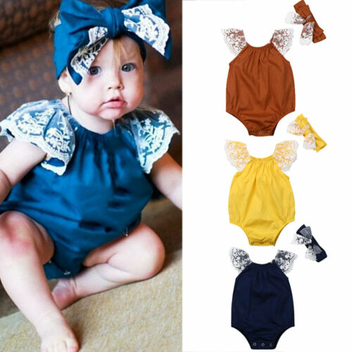 Pudcoco New Toddler Baby Girl Kids Lace Fly Sleeve Solid Bodysuit Jumpsuit Outfit Fashion Clothes 2PCS