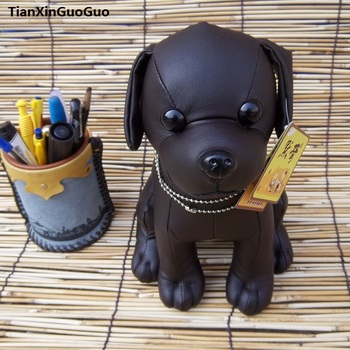 new arrival large 26cm black chihuahua dog plush toy PU leather dog soft doll birthday gift s0066