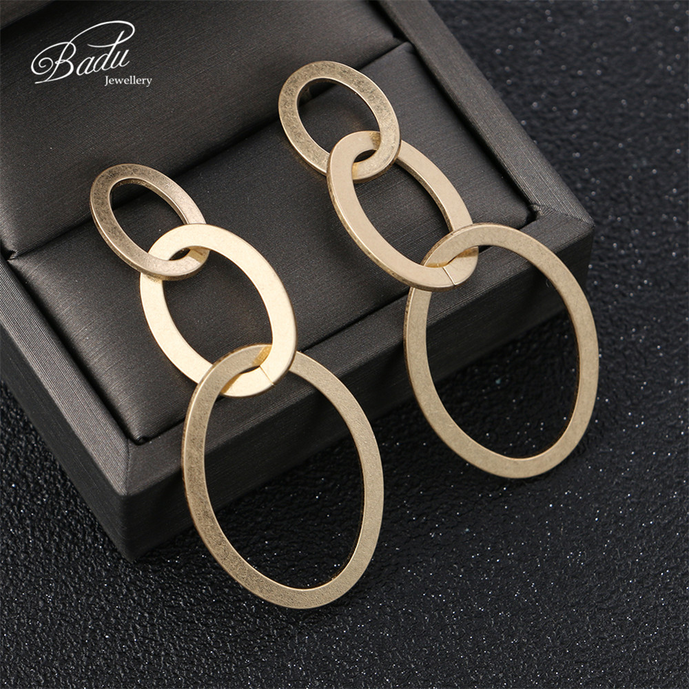 Badu Gold Geometric Earrings for Women Exaggerated Big Hollowing Drop Earring Jewelry Gift for Girls Wholesale