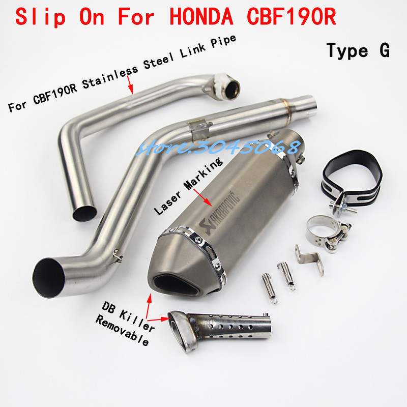 Modified Full System Motorcycle Exhaust Mid Link Front Pipe Motorbike Laser Marking Muffler For HONDA CBF190 CBF190R CB190R free shipping carbon fiber id 61mm motorcycle exhaust pipe with laser marking exhaust for large displacement motorcycle muffler