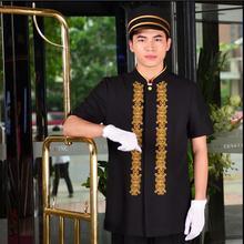 Высокое качество Униформа портье отели прием летом отель униформа, костюм мужской