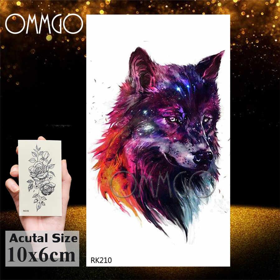 Tatuaje adhesivo temporal OMMGO Wolf King Galaxy Universe, tatuajes falsos impermeables para hombres y mujeres, tatuajes personalizados, brazalete de formas artísticas corporales