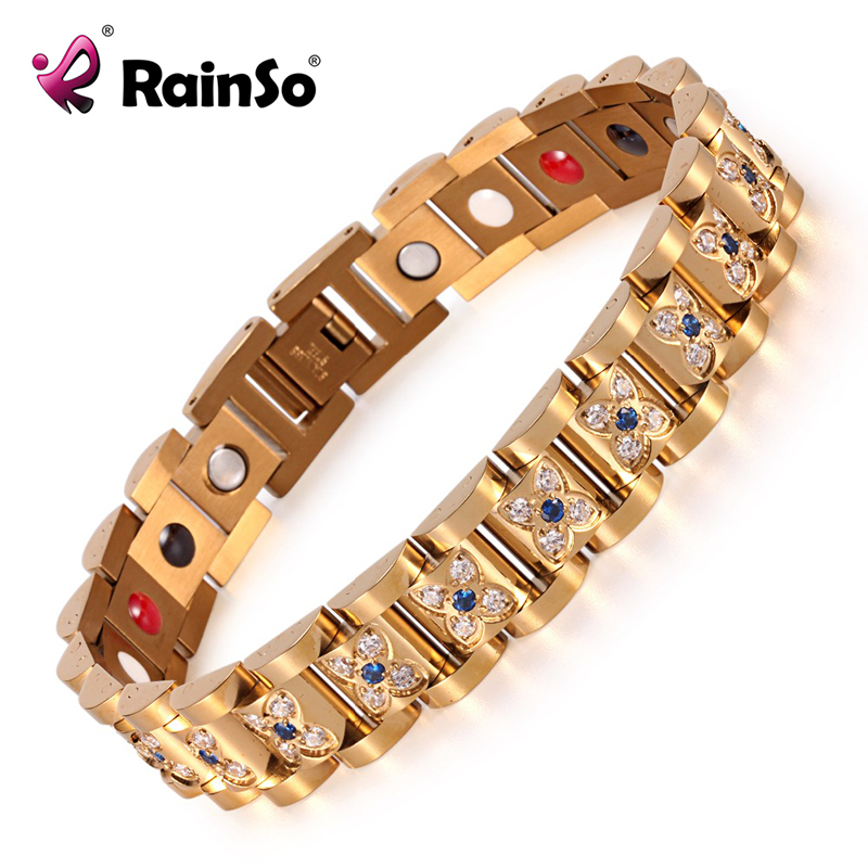 Elegant Crystal Rhinestone Bracelets & Bangles For Women Gold Magnetic Fashion Health Bracelet Lady Jewelry OSB-1539GFIR elegant faux gem rhinestone flower leaf brooch for women