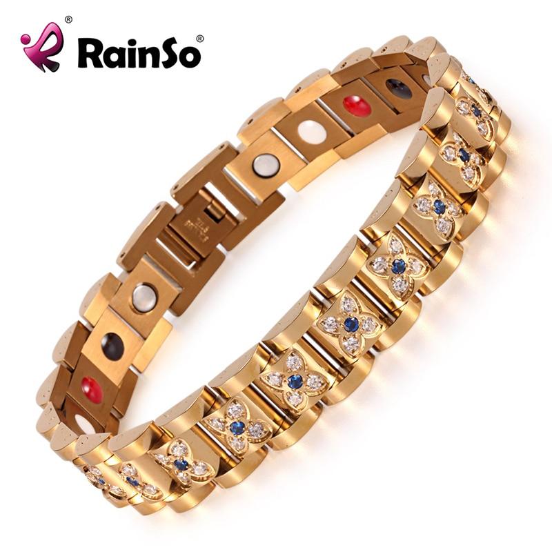 Elegant Crystal Rhinestone Bracelets & Bangles For Women Gold Magnetic Fashion Health Bracelet Lady Jewelry OSB 1539GFIR