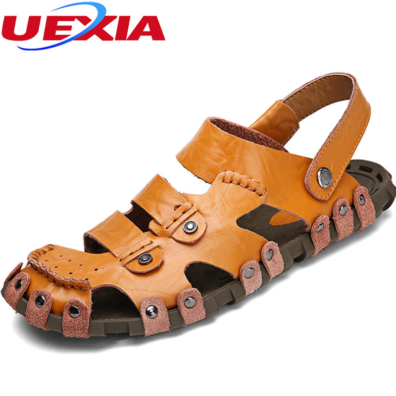 Men Toe Protect Leather Outdoor Summer Mens Brown Sandals Classic Man Fashion Casual Sandals Leather Zapatos Comfort Beach Shoes