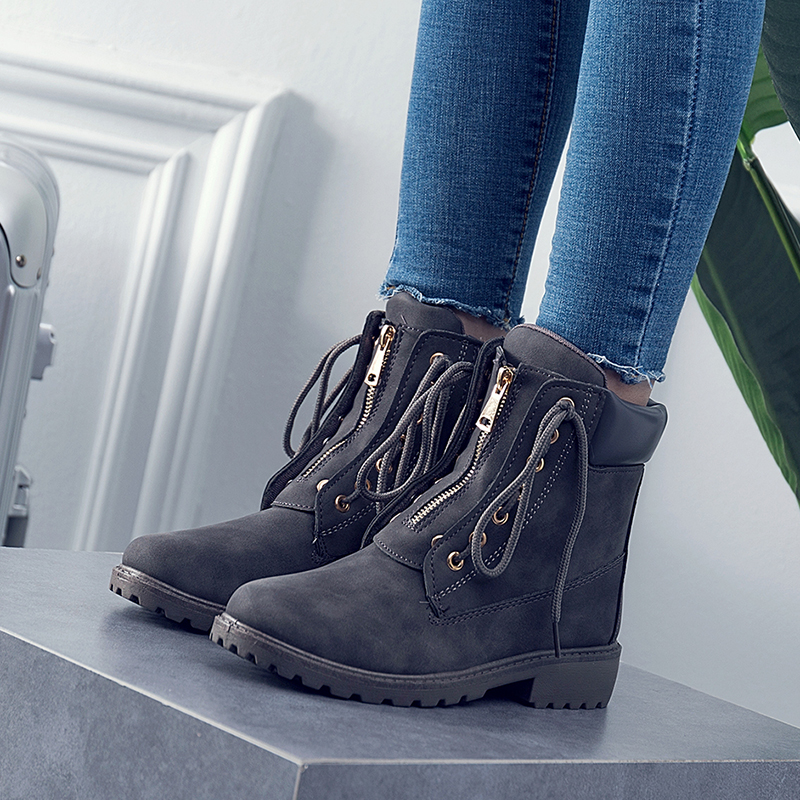 COOTELILI Boots Motorcycle-Boots Women Lace-Up Casual-Shoes Girls Female Brand Ankle