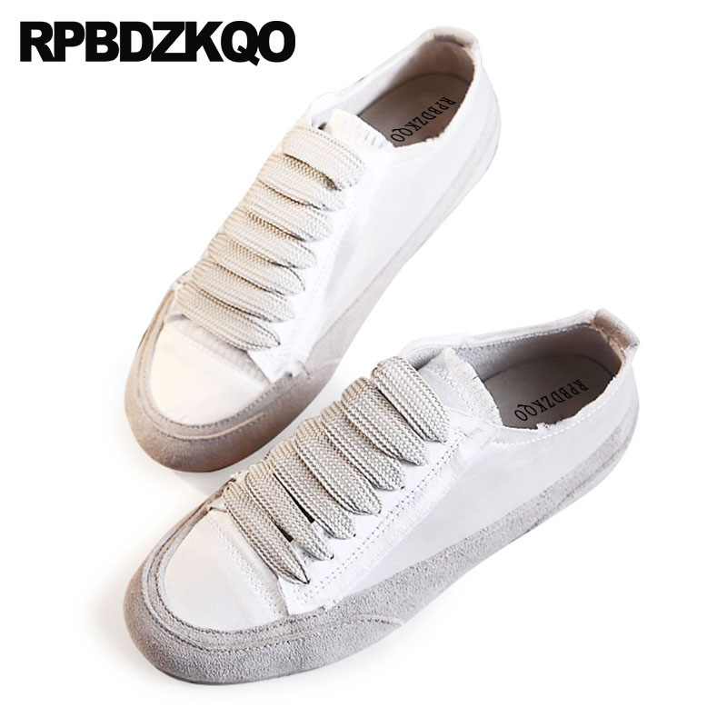 Appartements en cuir véritable soie sneakers satin suede designer chaussures femmes de luxe 2018 formateurs lacent respirant blanc haute qualité