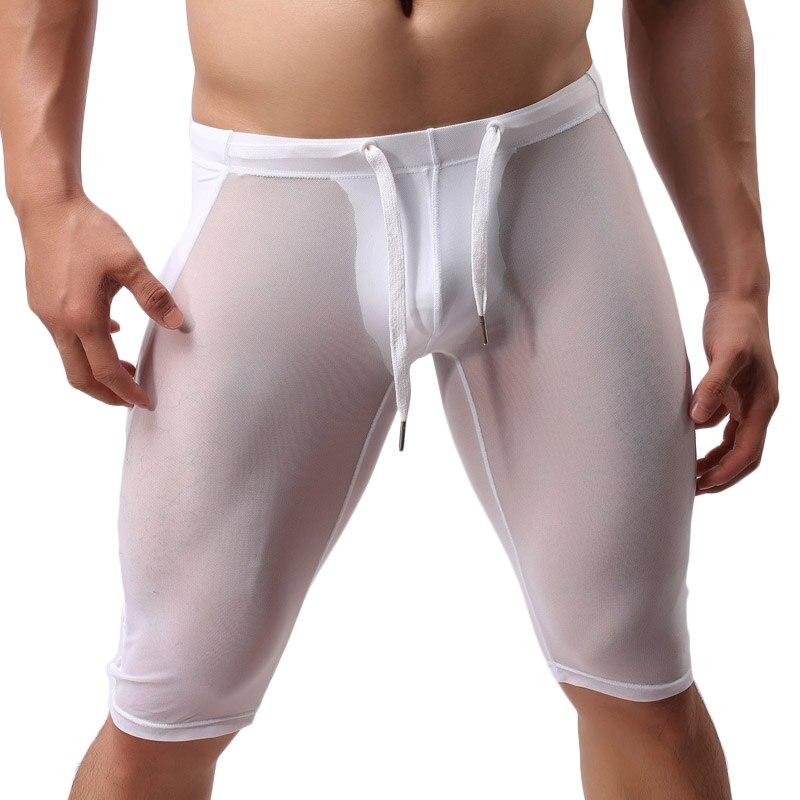 Hombres sexy pantalones cortos de malla transparente Fitness - Ropa de hombre - foto 4