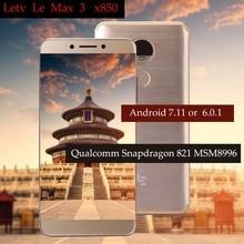 "Original letv leeco ram 6g rom 64g le max3 x850 fdd 4g telefone celular 5.7 ""Polegada snapdragon 821 16mp 2 câmera pk le max2 x820 modelo"