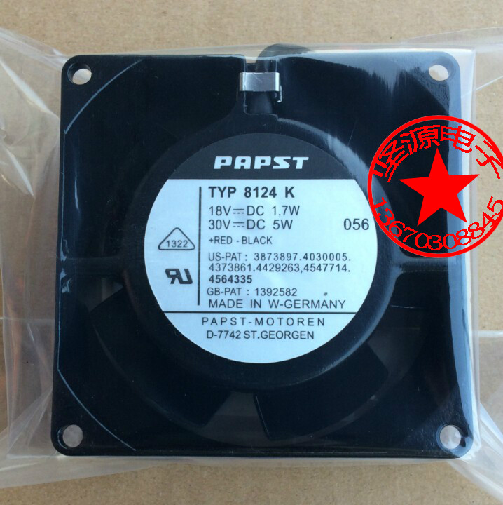 Free Shipping For ebmpapst TYP8124K TYP 8124K DC 18V 30V 1.7W 5W 2-wire 80x80x38mm Server Square Cooling Fan free shipping for ebmpapst dv5214n dv5214 n dc 24v 18 5w 2 wire 2 pin connector 110mm 127x127x38mm server square cooling fan