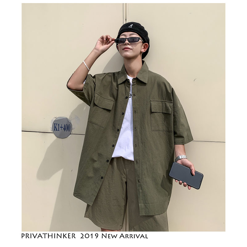 Privathinker Men Harajuku Streetwear Tracksuit 2020 Summer Two Piece Set Top And Pants Short Sleeve Casual Shirts 2 Pieces Set
