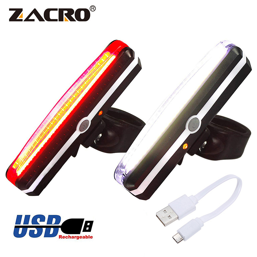Zacro Bicycle Light Rechargeable Front Bike Tail Rear Light Bright Bike Led Flashlight for Bicycle Luz Bicicleta Luces Bicicleta(China)