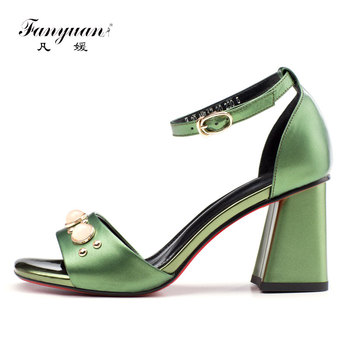 Fanyuan Fashion Genuine Leather Ankle-Wrap Sandals women Shoes Leisure Pearl decoration High Heels summer Casual Buckle Strap Sh