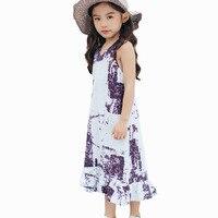 3-12 Jr Zomer Meisjes Tiener kinderen Tie dye katoen jurk Boho beach tuniek zonnejurk vestido infantil