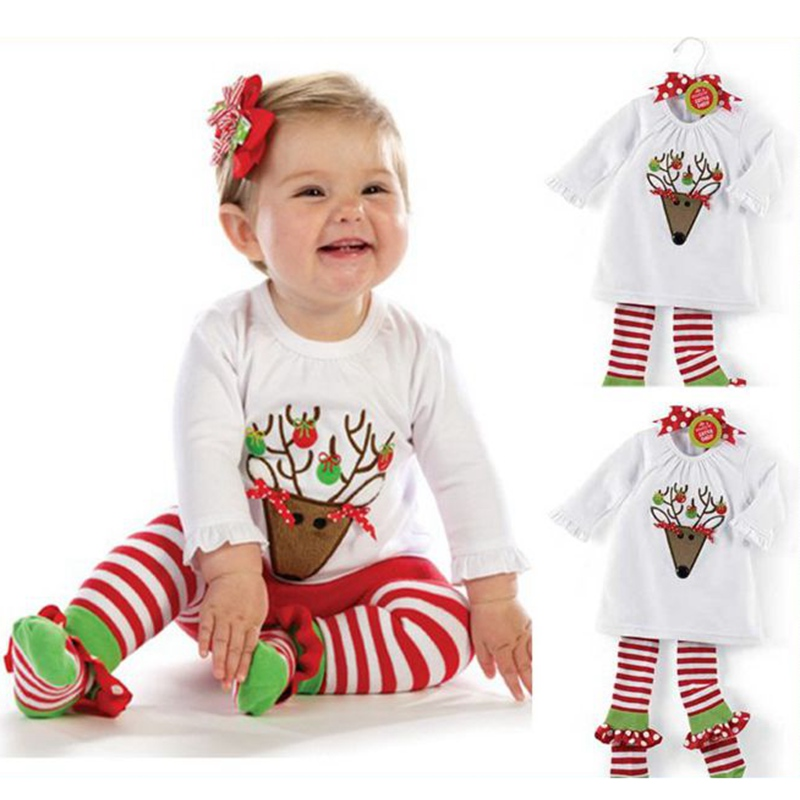 цена на Girls Christmas Pajamas Kids Clothes Long Sleeve Tshirt Pants Toddler Girl Clothing Vetement Bebe Fille Children Clothing Sets