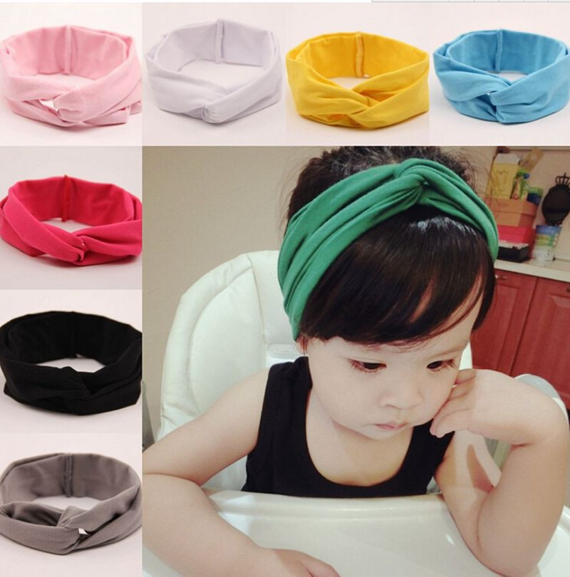 1pc Baby girl children Turban Headband Head Wrap Solid Color Baby Girl Twisted Headband Girls Hair Accessories free shipping metting joura vintage bohemian ethnic solid satin fabric cross turban elastic headband hair accessories