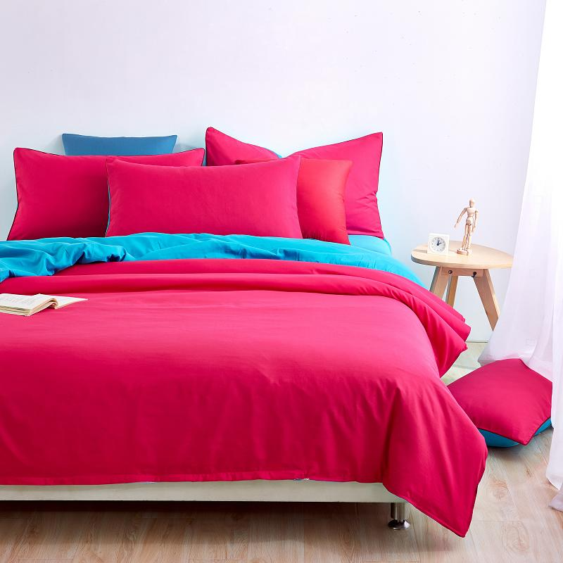 UNIKEA New Style Minimalist Rose Red Bedding Sets Bed Sheet and Duver Quilt Cover Pillowcase Soft and Comfortable King Queen Ful
