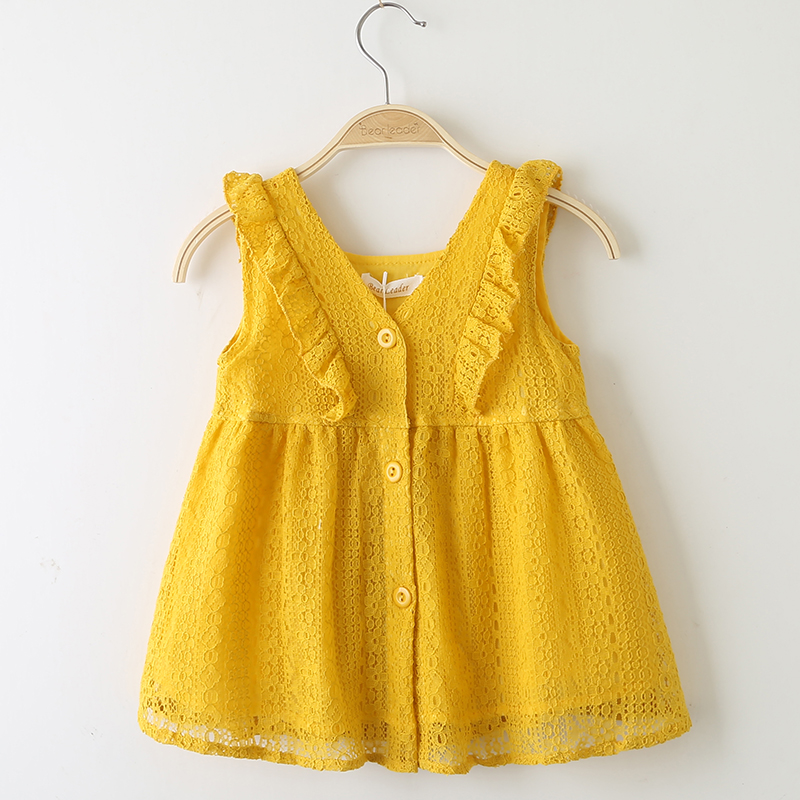 5535d54eb0c33 US $8.19 30% OFF|Girls Dress 2019 New Style Summer Kids Bright color Cute  Lace Dress Children Sleeveless Princess Dress Children Clothes Dresses-in  ...