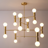 Modern linear line ceiling chandelier light rotatable adjustable bronze gold hanging light lamp for dinning living room foyer