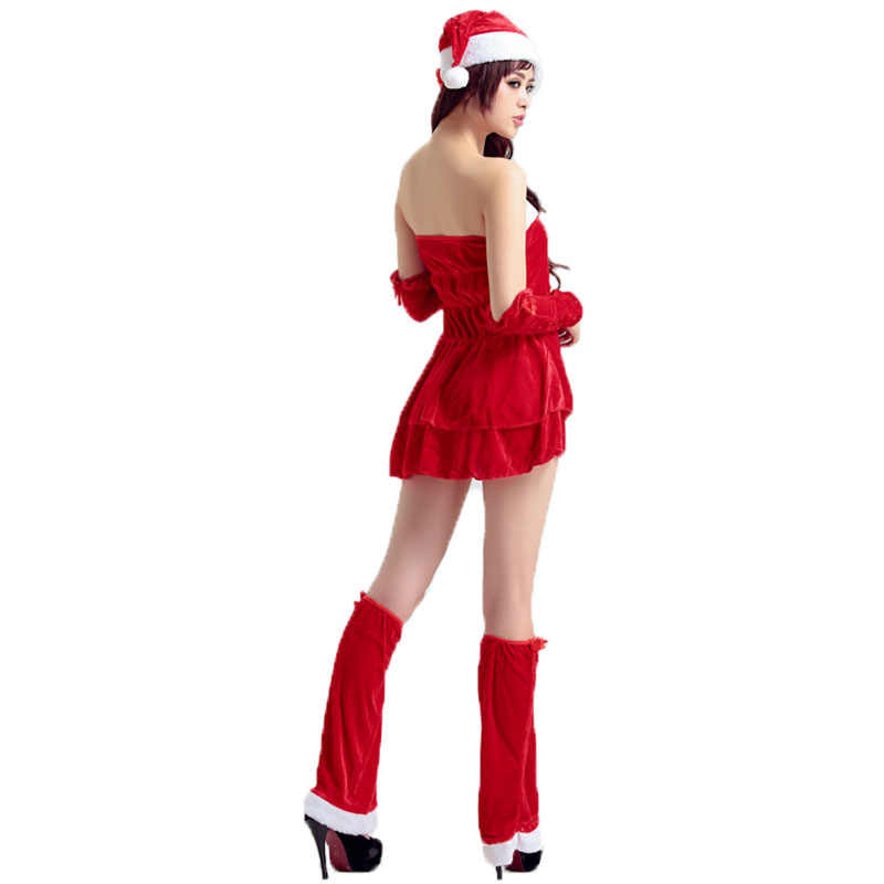 e912c662e8f21 Women Cosplay Christmas Costume New Year Dance Sexy Short Red Dress Set  Adult Strapless Santa Claus Uniform Female Fancy Wear