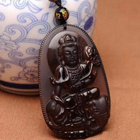 Jade Jewelry Natural Black Obsidian Buddha,Lucky Amulet Pendant Necklace For Women Men party Gift Jewelry
