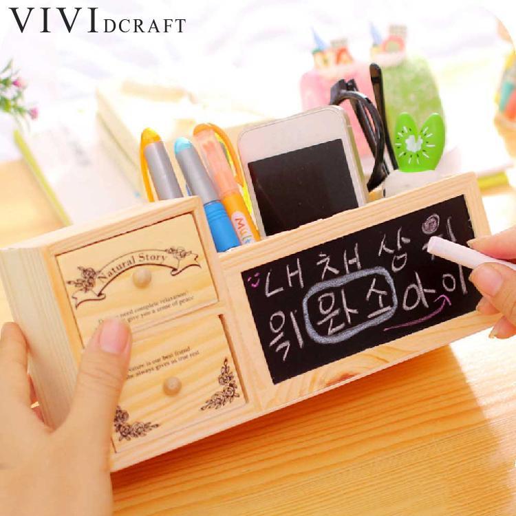 где купить Vividcraft Wood Desk Accessories Stationery Shop Paper Pen Holder Mini Blackboard Desk Organizer Set Desk Folder Office Supplies по лучшей цене