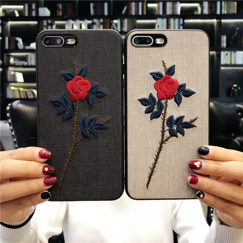 Embroidered flowers Retro style cases For iPhone 6 6S 7 Plus 8 plus X coque For Galaxy S8 S9 capa soft side back cover Fundas