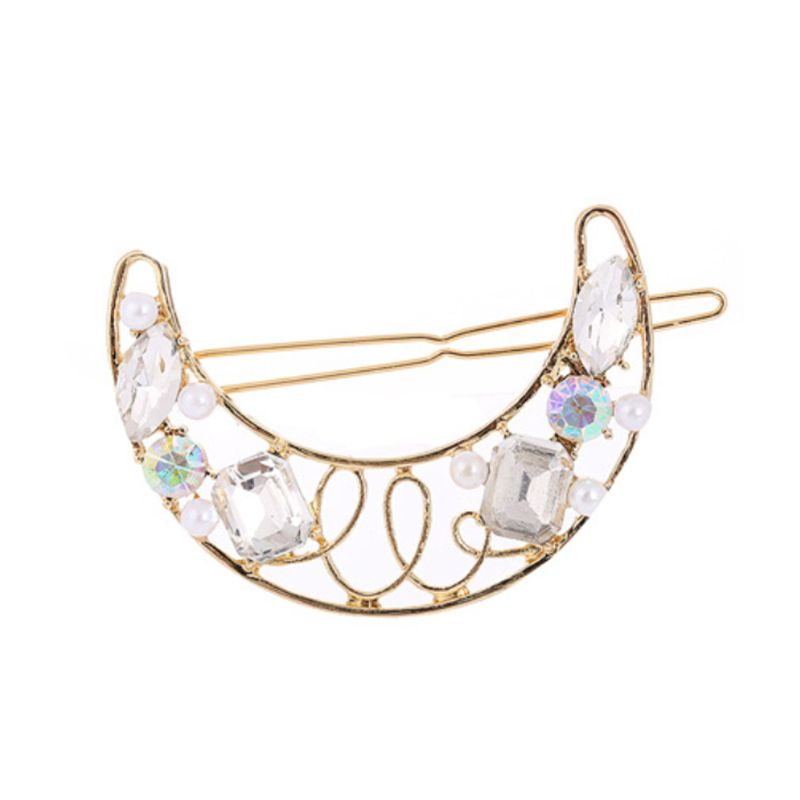 European Romantic Hollow Moon Shape Hair Clip Colorful Faux Crystal Imitation Pearl Hairpin Lady Party Vintage Jewelry Barrette