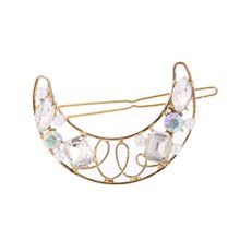 European Romantic Hollow Moon Shape Hair Clip Colorful Faux Crystal Imitation Pearl Hairpin Lady Party Vintage Jewelry Barrette faux crystal inlaid hollow out flower barrette