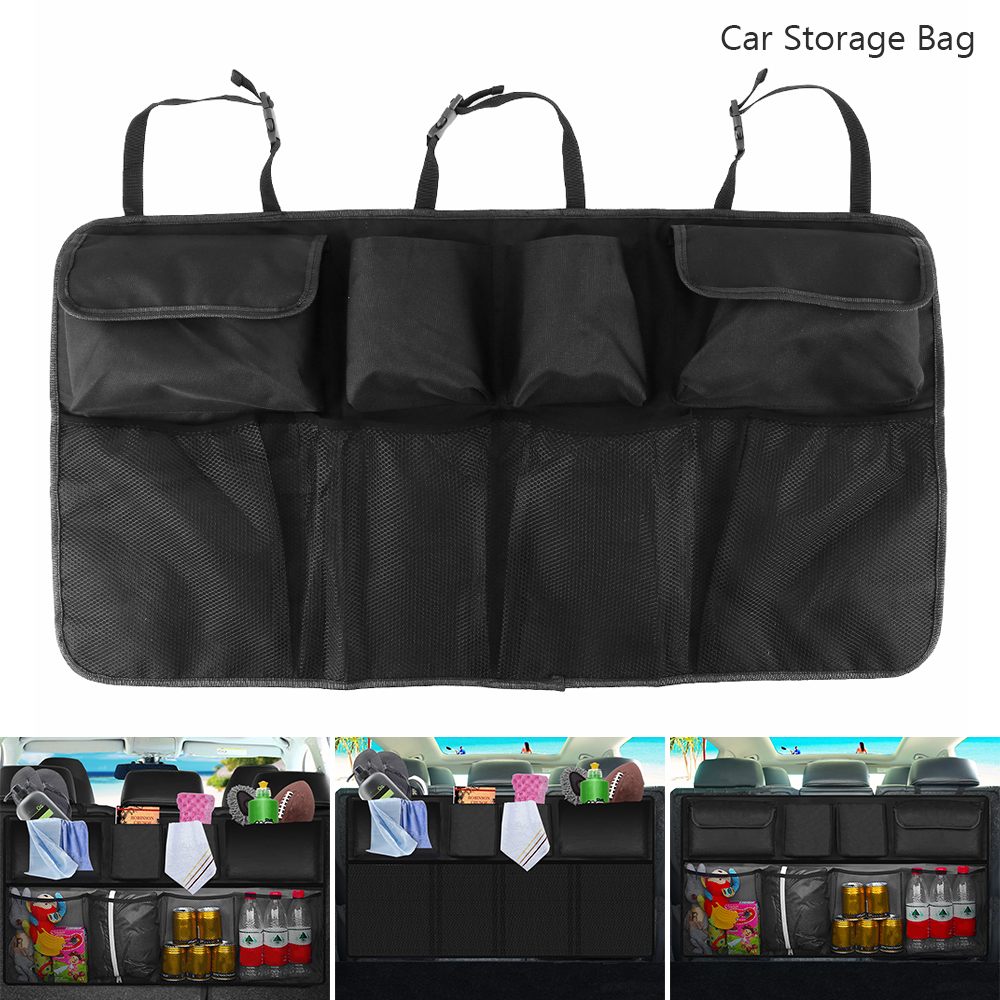 Black Car Trunk Organizer Backseat Storage Bag Seat Hanging Pocket Universal Automobiles Stowing Tidying Interior Accessories aumohall car multi pocket organizer large capacity folding storage bag trunk stowing and tidying
