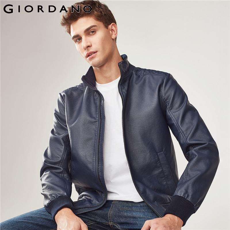 Jordano для мужчин бомбер куртки стенд воротник сплошной хлопок PU Chaqueta De Bombardero мужской Homme 2017 Фирменная Новинка куртка