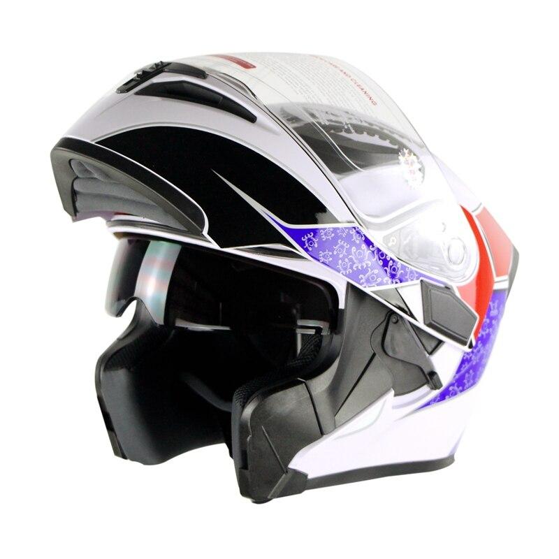 Flip Up Casque De Moto À Double Lentille Casco Capacetes Cyclegear Motocross Hors route Tête Protection évitement de Collision Casque