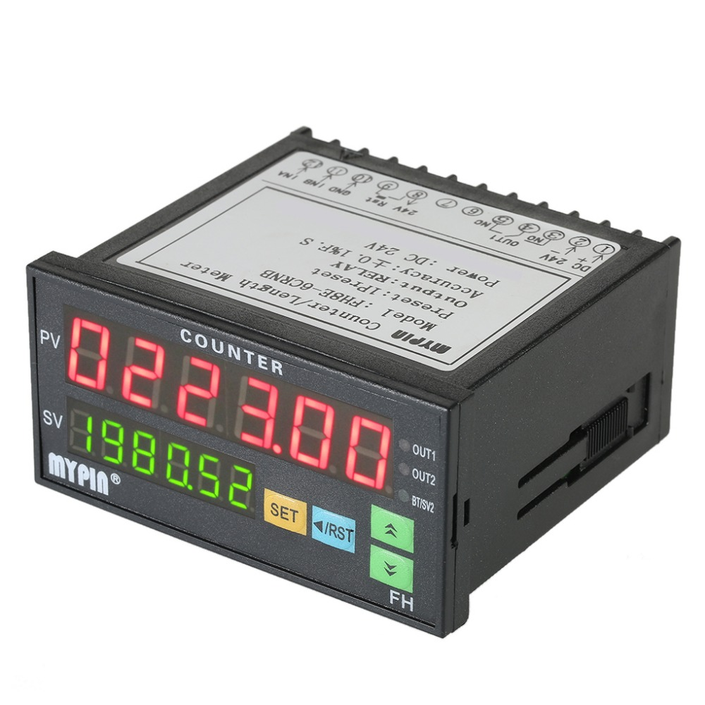 FH8E-6CRNB Multi-functional Preset 6 Digital Counter Intelligent Length Batch Meter 24V DC Length Count Meter Relay Output free shipping dh48j ac dc 24v 50 60hz count up 8 pins 1 999900 digital counter relay