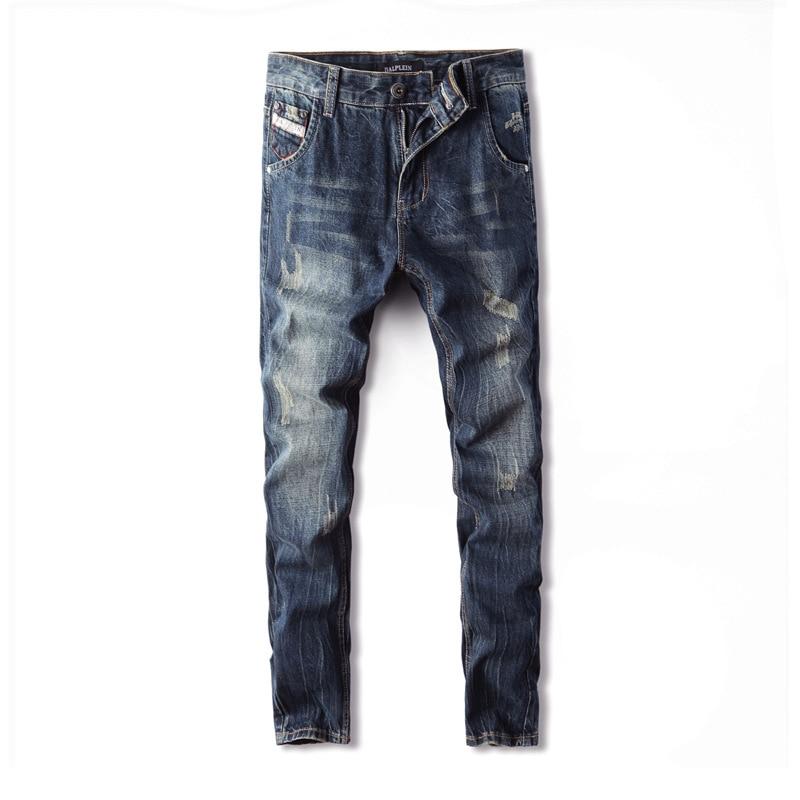 2019 Fashion men's jeans shredded retro design nostalgic washed dark blue Slim straight worn jeans H988