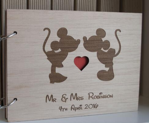 Customize Mickey Minnie Rustic Wedding Guest Album Engraved Wooden Guestbooks Reception Party Favors Decorations Guest Books